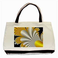 Fractal Gold Palm Tree On Black Background Basic Tote Bag by Amaryn4rt