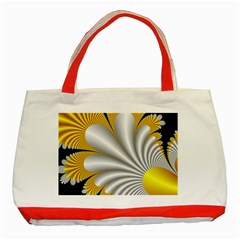 Fractal Gold Palm Tree On Black Background Classic Tote Bag (red) by Amaryn4rt