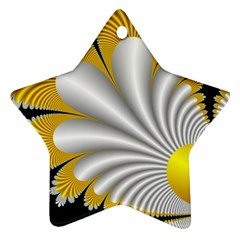 Fractal Gold Palm Tree On Black Background Star Ornament (two Sides) by Amaryn4rt