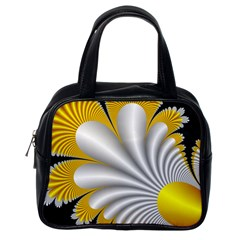 Fractal Gold Palm Tree On Black Background Classic Handbags (one Side) by Amaryn4rt