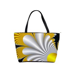 Fractal Gold Palm Tree On Black Background Shoulder Handbags by Amaryn4rt