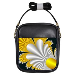 Fractal Gold Palm Tree On Black Background Girls Sling Bags by Amaryn4rt