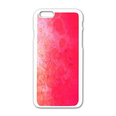Abstract Red And Gold Ink Blot Gradient Apple Iphone 6/6s White Enamel Case by Amaryn4rt