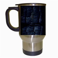Black Burnt Wood Texture Travel Mugs (white) by Amaryn4rt
