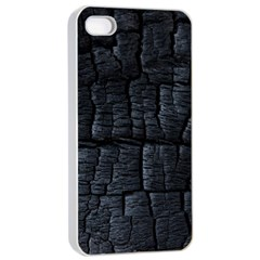 Black Burnt Wood Texture Apple Iphone 4/4s Seamless Case (white) by Amaryn4rt