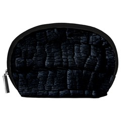 Black Burnt Wood Texture Accessory Pouches (large)  by Amaryn4rt
