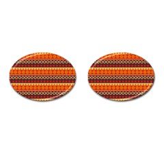 Abstract Lines Seamless Art  Pattern Cufflinks (oval)