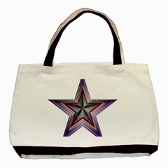 Star Abstract Geometric Art Basic Tote Bag by Amaryn4rt