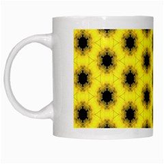 Yellow Fractal In Kaleidoscope White Mugs by Amaryn4rt