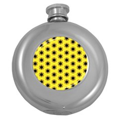 Yellow Fractal In Kaleidoscope Round Hip Flask (5 Oz) by Amaryn4rt