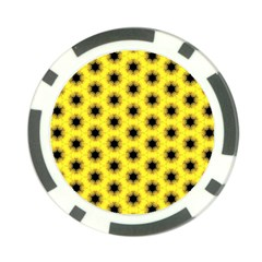 Yellow Fractal In Kaleidoscope Poker Chip Card Guard by Amaryn4rt