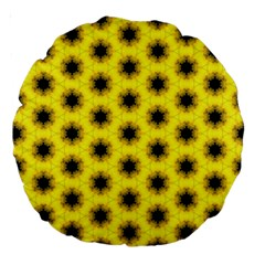 Yellow Fractal In Kaleidoscope Large 18  Premium Round Cushions by Amaryn4rt