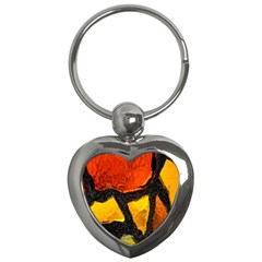 Colorful Glass Mosaic Art And Abstract Wall Background Key Chains (heart)  by Amaryn4rt
