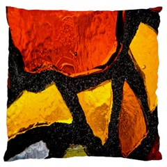 Colorful Glass Mosaic Art And Abstract Wall Background Large Flano Cushion Case (one Side) by Amaryn4rt