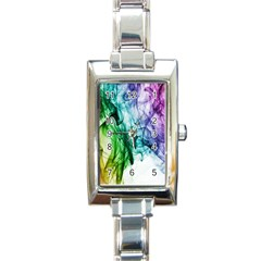 Colour Smoke Rainbow Color Design Rectangle Italian Charm Watch