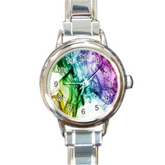 Colour Smoke Rainbow Color Design Round Italian Charm Watch