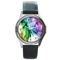 Colour Smoke Rainbow Color Design Round Metal Watch