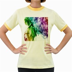 Colour Smoke Rainbow Color Design Women s Fitted Ringer T-Shirts