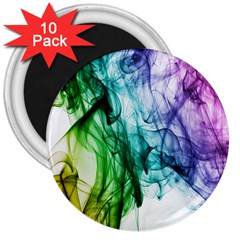 Colour Smoke Rainbow Color Design 3  Magnets (10 pack)