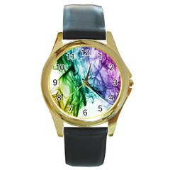 Colour Smoke Rainbow Color Design Round Gold Metal Watch
