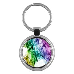Colour Smoke Rainbow Color Design Key Chains (Round)