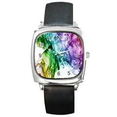 Colour Smoke Rainbow Color Design Square Metal Watch