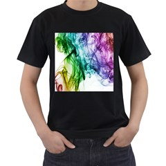 Colour Smoke Rainbow Color Design Men s T-Shirt (Black) (Two Sided)