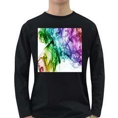 Colour Smoke Rainbow Color Design Long Sleeve Dark T-Shirts