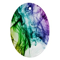 Colour Smoke Rainbow Color Design Oval Ornament (Two Sides)