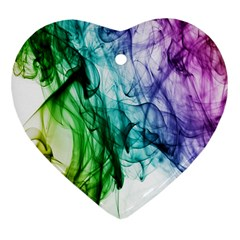 Colour Smoke Rainbow Color Design Heart Ornament (Two Sides)