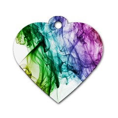 Colour Smoke Rainbow Color Design Dog Tag Heart (Two Sides)