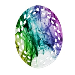 Colour Smoke Rainbow Color Design Oval Filigree Ornament (Two Sides)