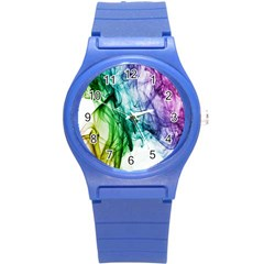 Colour Smoke Rainbow Color Design Round Plastic Sport Watch (S)