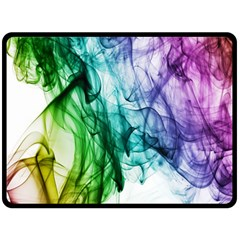 Colour Smoke Rainbow Color Design Double Sided Fleece Blanket (Large)