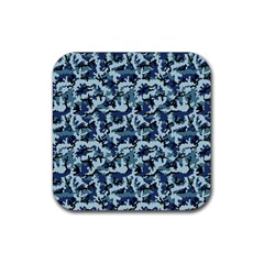 Navy Camouflage Rubber Coaster (square)  by sifis