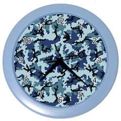 Navy Camouflage Color Wall Clocks by sifis