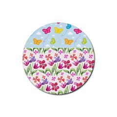 Watercolor Flowers And Butterflies Pattern Rubber Round Coaster (4 Pack)  by TastefulDesigns