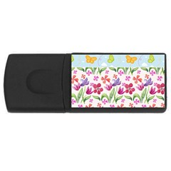 Watercolor Flowers And Butterflies Pattern Usb Flash Drive Rectangular (4 Gb) by TastefulDesigns