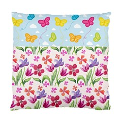 Watercolor Flowers And Butterflies Pattern Standard Cushion Case (two Sides)