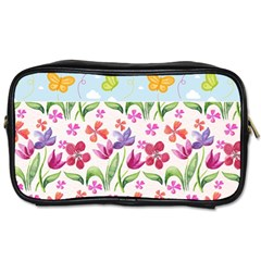 Watercolor Flowers And Butterflies Pattern Toiletries Bags 2 Side by TastefulDesigns