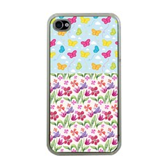 Watercolor Flowers And Butterflies Pattern Apple Iphone 4 Case (clear) by TastefulDesigns