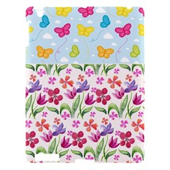 Watercolor Flowers And Butterflies Pattern Apple Ipad 3/4 Hardshell Case by TastefulDesigns