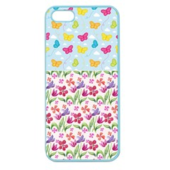 Watercolor Flowers And Butterflies Pattern Apple Seamless Iphone 5 Case (color) by TastefulDesigns