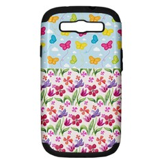 Watercolor Flowers And Butterflies Pattern Samsung Galaxy S Iii Hardshell Case (pc+silicone) by TastefulDesigns