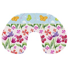 Watercolor Flowers And Butterflies Pattern Travel Neck Pillows by TastefulDesigns