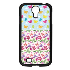 Watercolor Flowers And Butterflies Pattern Samsung Galaxy S4 I9500/ I9505 Case (black) by TastefulDesigns