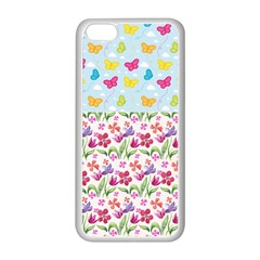 Watercolor Flowers And Butterflies Pattern Apple Iphone 5c Seamless Case (white) by TastefulDesigns