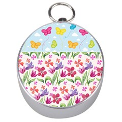 Watercolor Flowers And Butterflies Pattern Silver Compasses by TastefulDesigns