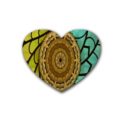 Kaleidoscope Dream Illusion Rubber Coaster (heart)  by Amaryn4rt
