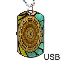 Kaleidoscope Dream Illusion Dog Tag Usb Flash (one Side) by Amaryn4rt